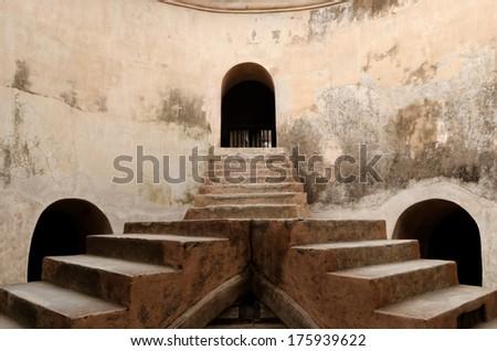 elevated platform of sumur gumuling mosque at taman sari water castle - the royal garden of sultanate of jogjakarta - stock photo