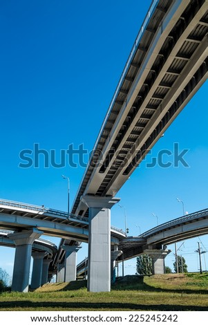 Elevated road and pillars - stock photo