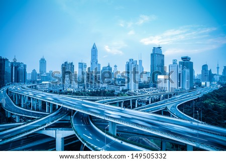 elevated road with vehicles motion blur in shanghai,China - stock photo