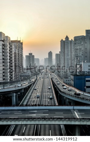 Elevated Roads in Shanghai - stock photo