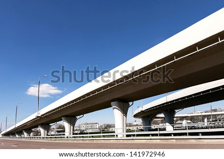 Elevated roads on sunny day - stock photo