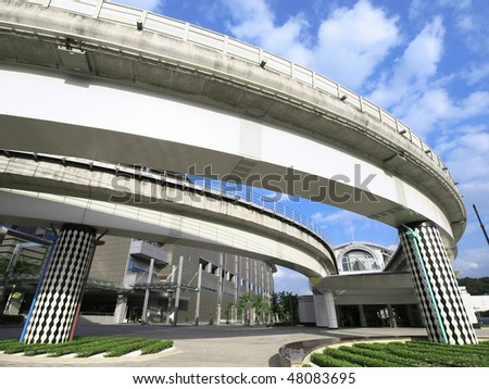 Elevated train station - stock photo