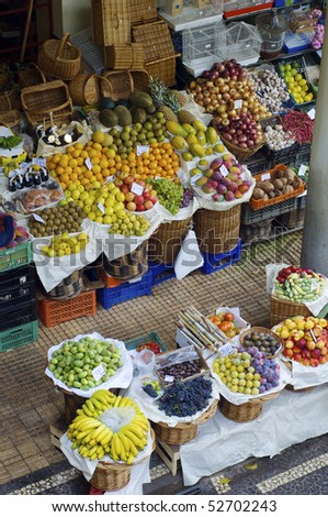 elevated view of a tropical fruit market on the island of madeira, portugal - stock photo