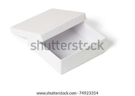 Elevated view of an open empty gift box on white background - stock photo