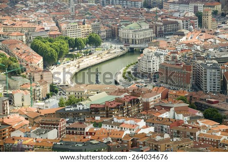 Elevated view of Bilbao, Spain (Bilbo) and river Ibaizabal - stock photo