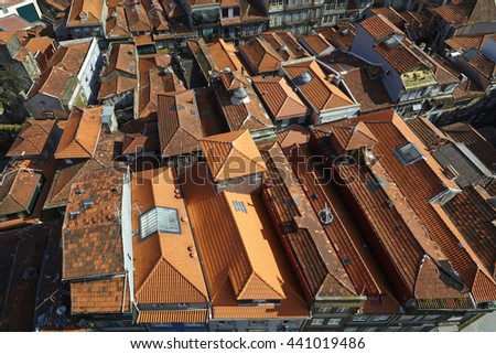 Elevated view of clay red rooftops in the centre of Porto, Portugal - stock photo