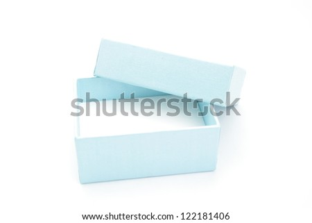 Elevated view of empty blue gift box on white background - stock photo