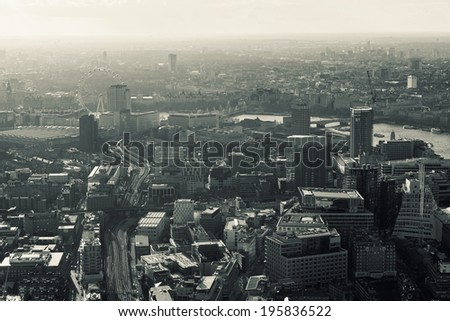 Elevated view of London on a cloudy Spring afternoon. Retro toned. - stock photo