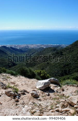 Elevated view of Marbella town and sea seen from the Refugio de Juanar, Marbella, Costa del Sol, Malaga Province, Andalusia, Spain, Western Europe. - stock photo