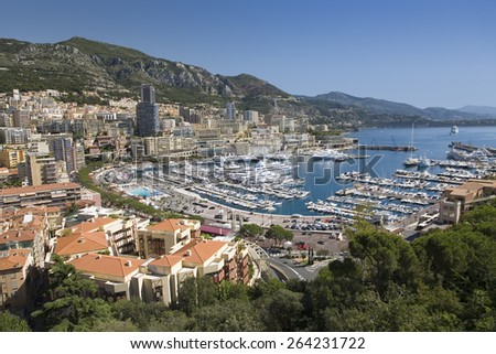 Elevated view of Monte-Carlo and harbor in the Principality of Monaco, Western Europe on the Mediterranean Sea