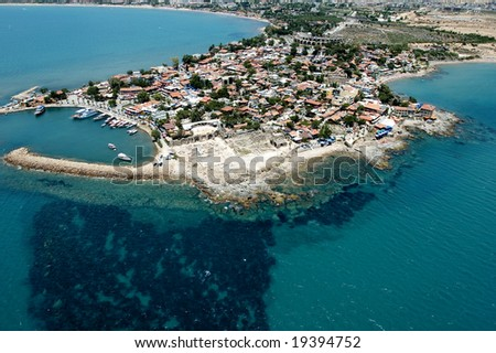 elevated view of old city from Antalya, Turkey - stock photo