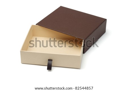 Elevated view of open empty gift box isolated on white background - stock photo