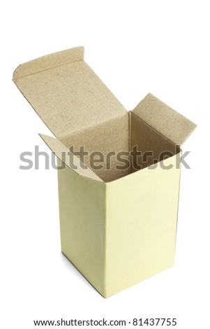 Elevated view of open empty paper box on white background - stock photo