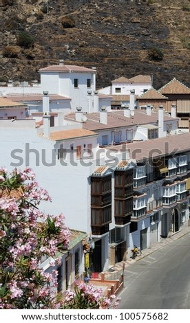 Elevated view of street in the centre of the village, Torrox, Costa del Sol, Malaga Province, Andalusia, Spain, Western Europe. - stock photo