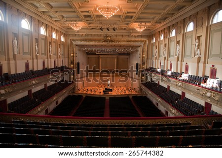 Elevated view of Symphony Hall, Boston Mass, home of Boston Symphony Orchestra and Boston Pops