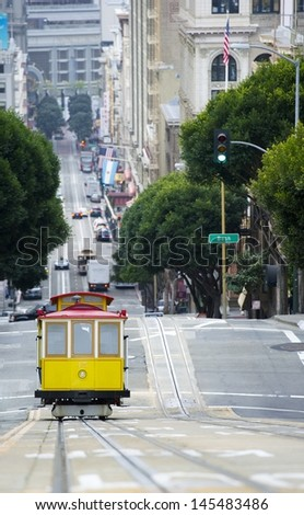 Elevated view of tram on uphill ascent San Francisco - stock photo
