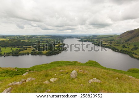 Elevated view of Ullswater Lake District Cumbria England UK in summer on a cloudy day  - stock photo