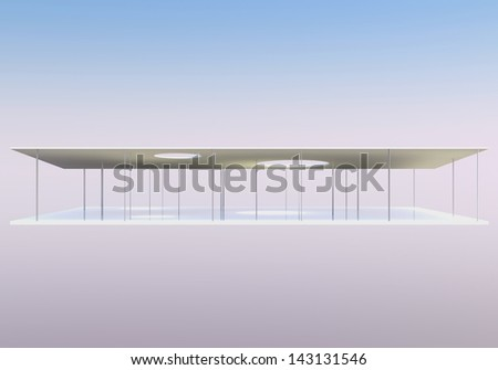 Elevation of Conceptual modern building, 3D rendered - stock photo