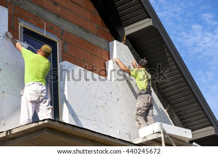 Elevation of the building Styrofoam insulation