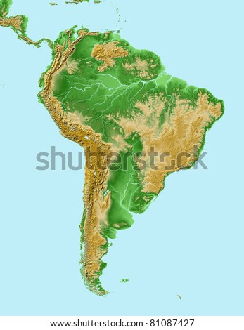 Elevations of South America- map relief - stock photo