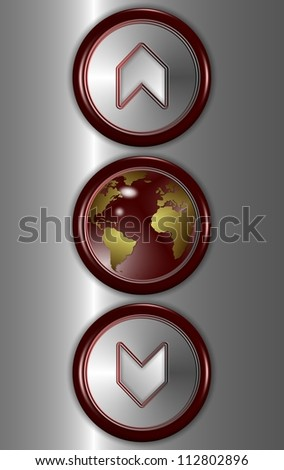 Elevator buttons showing up and down with earth globe in the middle / Elevator buttons and world - stock photo