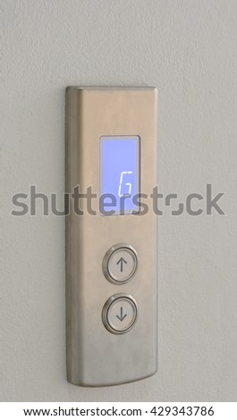 elevator buttons up and down direction with digital display on stainless plate at G floor