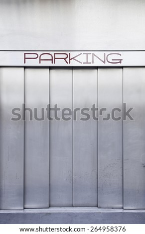 Elevator car, detail of an elevator in a parking lot in the city - stock photo