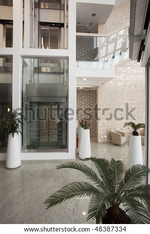 elevator in modern building - stock photo