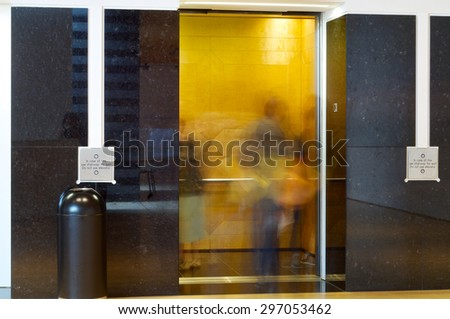 Elevator in the interior of a building. - stock photo