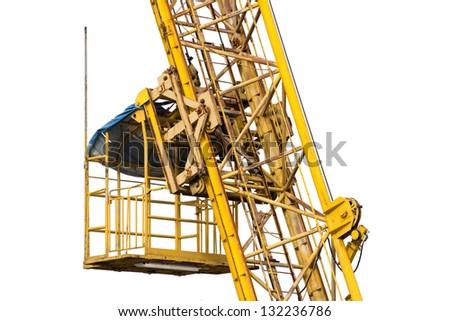 Elevator of construction crane closeup isolated on white - stock photo
