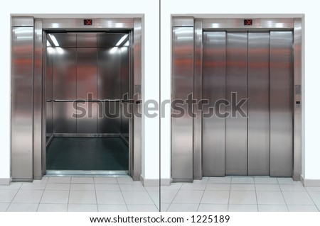 Elevator with open and close door - stock photo