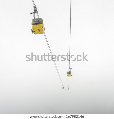 Elevators to Penken peak in a ski resort of a valley of Zillertal - Mayrhofen, Austria - stock photo