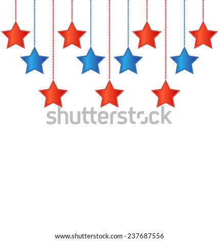 Eleven red and blue stars in US national colors - stock photo