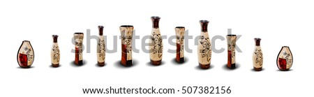 Eleven Wooden Vases Isolated on White Background. Panoramic Image.