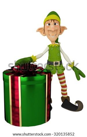 elf santa helper present - stock photo