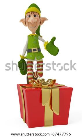 elf the santa catching the present - stock photo