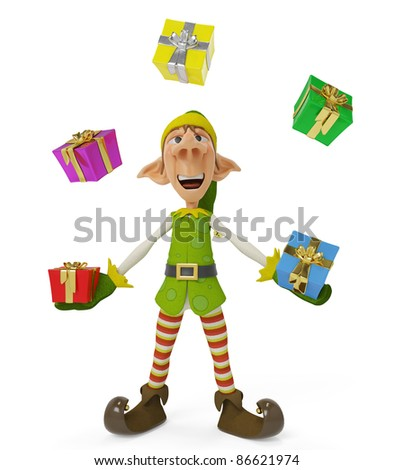 elf the santa helper cartoon in playing wiht gifts - stock photo