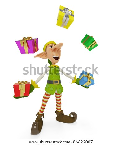 elf the santa helper cartoon in playing wiht gifts - stock photo