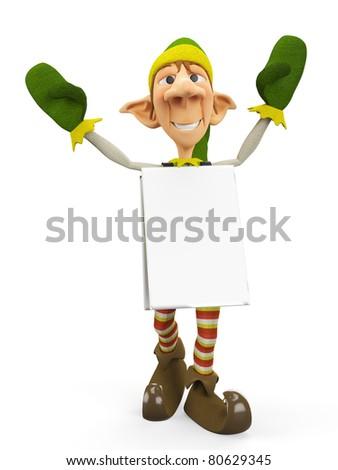 elf the santa helper sandwich man - stock photo