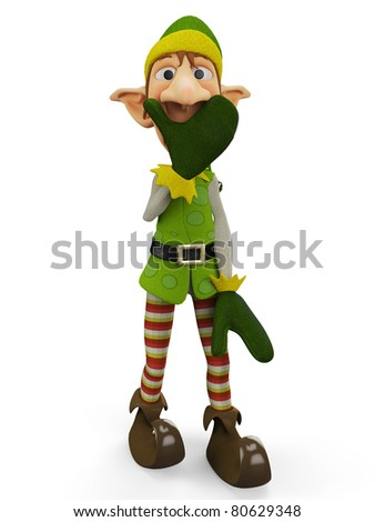 elf the santa helper silence close up - stock photo