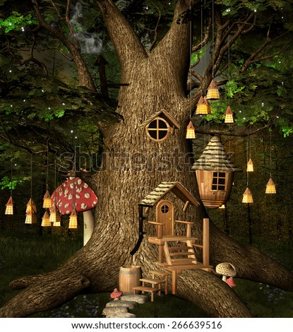 Elf tree house  - stock photo