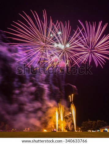 ELGIN,MORAY,SCOTLAND - 7 NOVEMBER: This is a scene from the Fireworks Display at Cooper Park, Elgin, Moray, Scotland on 7 November 2015.