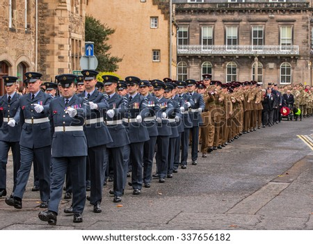 ELGIN, MORAY, SCOTLAND - 8 NOVEMBER: This is a scene from the Remembrance Sunday at Elgin, Moray, Scotland on 8 November 2015. - stock photo