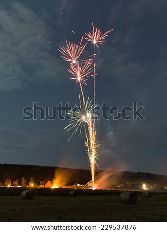 ELGIN,MORAY,SCOTLAND - 5 NOVEMBER: This is part of the Fireworks display at Spynie Hall, Elgin, Moray, Scotland on Guy Fawkes night, 5 November 2014.