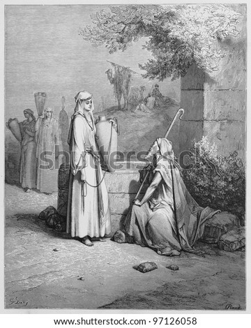 Eliezer and Rebekah - Picture from The Holy Scriptures, Old and New Testaments books collection published in 1885, Stuttgart-Germany. Drawings by Gustave Dore. - stock photo