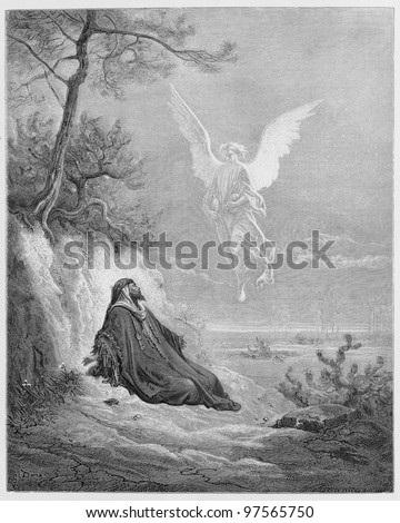 Elijah is nourished by an Angel -  Picture from The Holy Scriptures, Old and New Testaments books collection published in 1885, Stuttgart-Germany. Drawings by Gustave Dore. - stock photo
