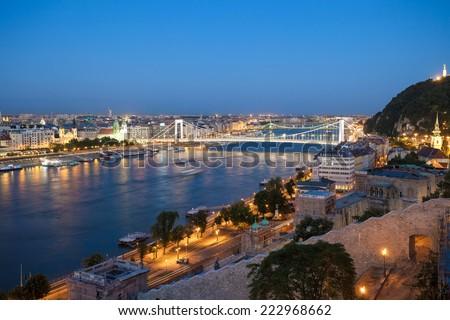 Elisabeth Bridge over Danube river in Budapest, Hungary - stock photo