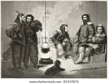 Elisha K.Kane (sitting central figure) and companions old illustration during Arctic expedition. Created by Stahl after Kane, published on Le Tour du Monde, Paris, 1860 - stock photo