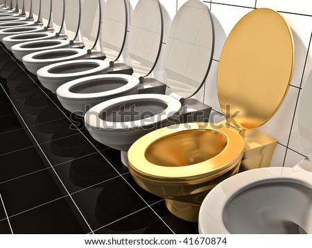 Elite gold office Toilet. Made in 3d