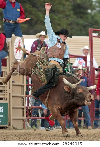 Elizabeth, CO - June 08:  Talented young PRCA cowboy Seth Glause rides a tough bull during the Elizabeth Stampede Rodeo on June 08, 2008.  It is considered one of the best small rodeos in the country. - stock photo
